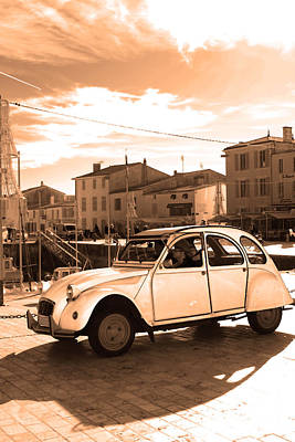 2cv Digital Art - Sepia Old French Car by Alex Antoine