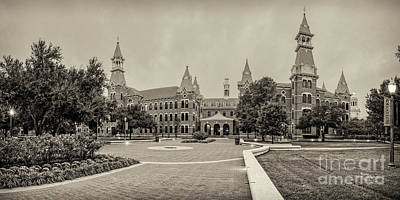 Photograph - Sepia Panorama Of Burleson Hall And Old Main At Baylor University - Waco Central Texas by Silvio Ligutti