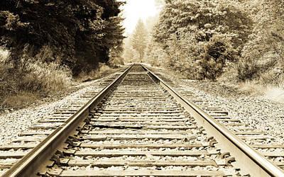Photograph - Sepia Railroad Tracks V by Athena Mckinzie