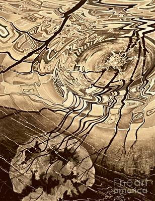 Sunset Abstract Drawing - Sepia Ripples by David Neace