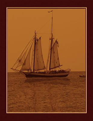 Sepia Sail Boat Art Print by John Breen