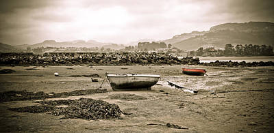 Small Boat Photograph - Sepia Seascape by Frank Tschakert