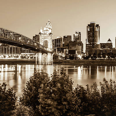 Photograph - Sepia Square Art Of The Cincinnati Skyline by Gregory Ballos