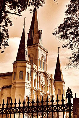 Photograph - Sepia St. Louis Cathedral by Debi Dalio
