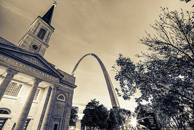 Sepia Sunrise - Downtown Saint Louis Gateway Arch And Old Cathedral Art Print by Gregory Ballos