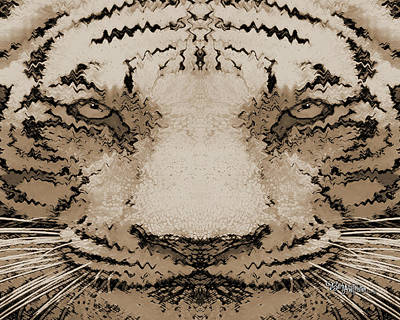 Digital Art - Sepia Tiger #162 by Barbara Tristan