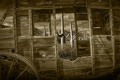 Wells Fargo Stagecoach Photograph - Sepia Tone Of A Western Stage Coach Among The Saguaro Cactus by Randall Nyhof