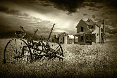 Sepia Vintage Farmhouse Photograph - Sepia Tone Of The Decline Of The Small Farm by Randall Nyhof