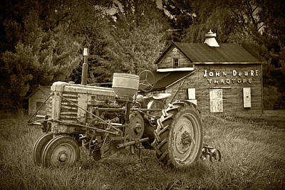 Photograph - Sepia Tone Old Vintage John Deere Tractor by Randall Nyhof