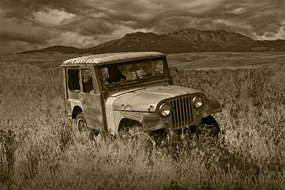 Vandalize Photograph - Sepia Toned Abandoned Willy Jeep by Randall Nyhof