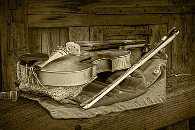 Photograph - Sepia Toned Acoustic Fiddle by Randall Nyhof