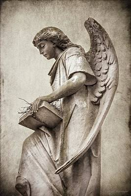 Photograph - Sepia Toned Cemetery Angel by Melissa Bittinger