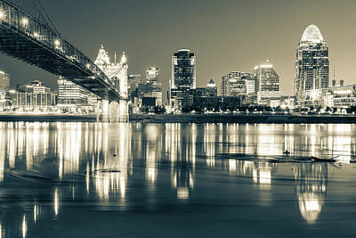 Photograph - Sepia Toned Cincinnati Ohio River Skyline by Gregory Ballos