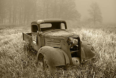 Sepia Toned Vintage Chevy Pickup Art Print by Randall Nyhof