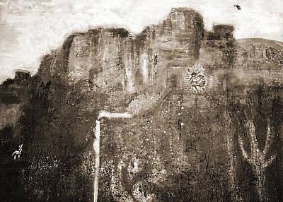 Sepia Version Of Mesa Painting Art Print by Anne-Elizabeth Whiteway