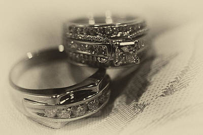 Sepia Wedding Ring Example Art Print by David Patterson