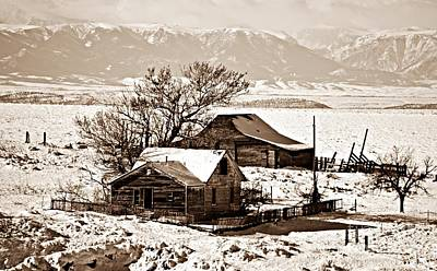 Photograph - Sepia Winter Postcard Greeting by Chalet Roome-Rigdon