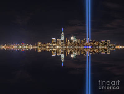 911 Memorial Photograph - September 11th Manhattan Reflections by Michael Ver Sprill
