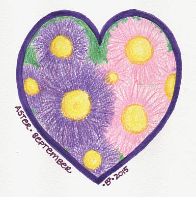 Aster Drawing - September Aster Heartgarden by Barbara Bellissimo