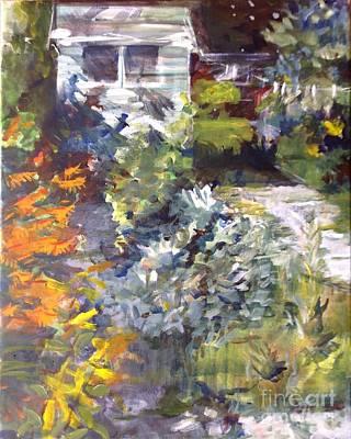 Crocosmia Painting - September Back Garden  by Sandra Haney