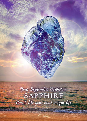 Digital Art - September Birthstone Sapphire by Evie Cook