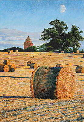 Bales Mixed Media - September Corn Moonrise by Adrian Jones