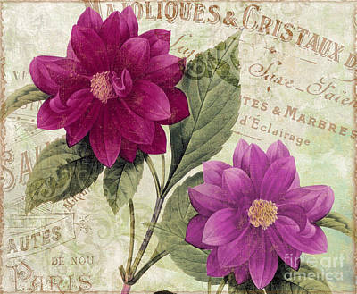 French Script Painting - September Dahlias by Mindy Sommers