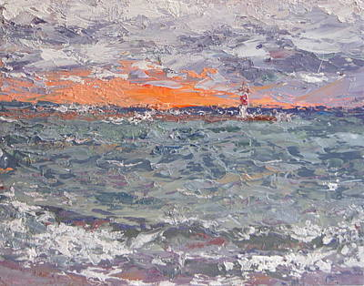 Waukegan Painting - September Sunrise At Waukegan Beach by Mary Haas