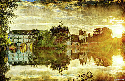 September Sunset In Chenonceau - Vintage Version Art Print