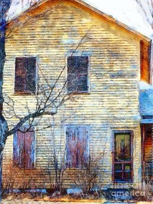 Photograph - September's Gone - Yellow Farmhouse Windows by Janine Riley