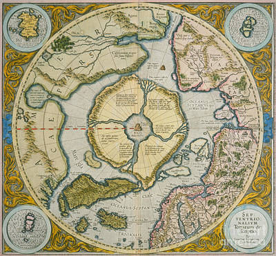 Arctic Drawing - Septentrionalium Terrarum Descriptio by Gerardus Mercator