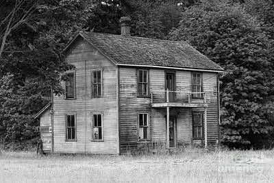 Photograph - Sequim Old House B/w by Louise Magno