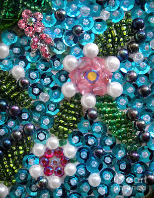 Beadwork Mixed Media - Sequis And Bead Embroidery. Spring Flowers by Sofia Metal Queen