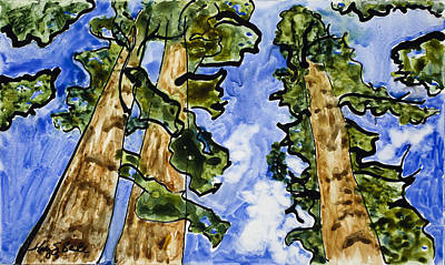 Yosemite Painting - Sequoias On Yupo by Mary Benke