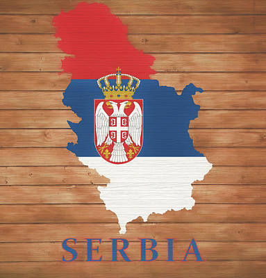 Mixed Media - Serbia Rustic Map On Wood by Dan Sproul