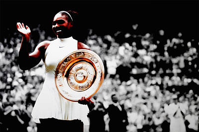Venus Williams Mixed Media - Serena 2016 Wimbledon Victory by Brian Reaves