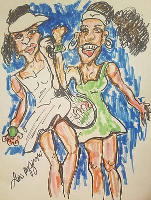 Venus Williams Drawing -  Serena And Venus Williams by Geraldine Myszenski
