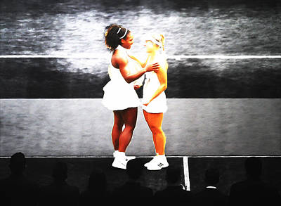 Serena Williams And Angelique Kerber 3a Art Print by Brian Reaves