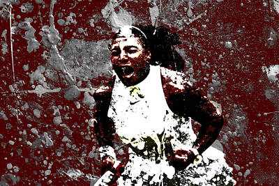 Venus Williams Mixed Media - Serena Williams In The Zone by Brian Reaves