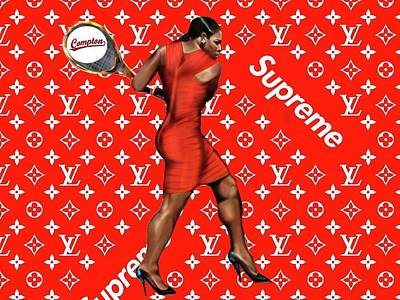 Serena Williams Photograph - Serena Williams Lv Supreme Logo On Metal by Sean Threat