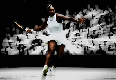 Mixed Media - Serena Williams Putting On A Show by Brian Reaves