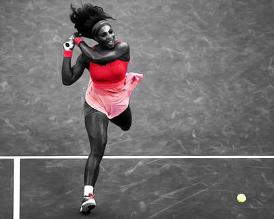 Serena Williams Digital Art - Serena Williams Strong Return by Brian Reaves