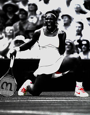 Serena Williams Mixed Media - Serena Williams Victory by Brian Reaves