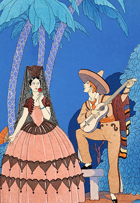 Musicians Playing Drawing - Serenade by Georges Barbier