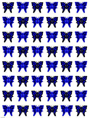 Garden Fruits - Serendipity Butterflies blueblackwhite 8 by Christine McCole