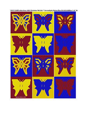 Mellow Yellow - Serendipity Butterflies brickgoldblue 1 by Christine McCole