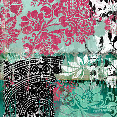 Fabric Collage Painting - Serendipity Damask Batik II by Mindy Sommers