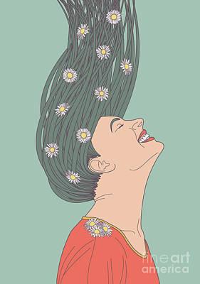 Girl Profile Digital Art - Serendipity by Freshinkstain