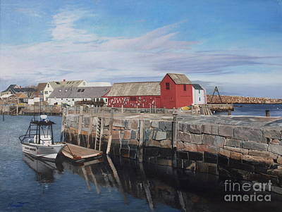Serene Afternoon At Rockport Harbor    Art Print