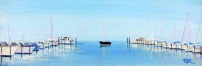 Painting - Serene Atlantic Highlands Marina by Leonardo Ruggieri